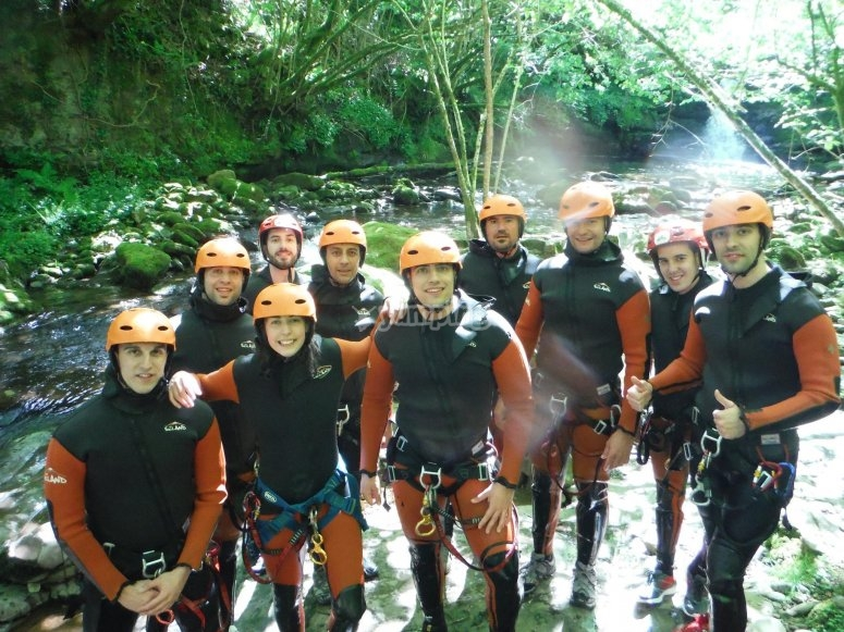 Canyoners group in Cantabria