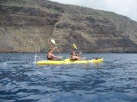 Two-sea kayak paddling