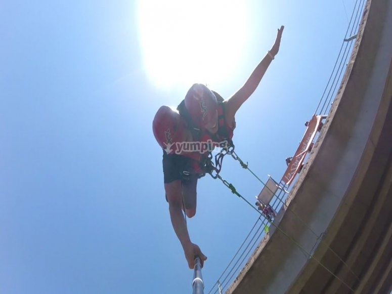 Bungee jumping on a sunny day