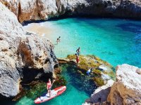 Route of sup in turquoise waters