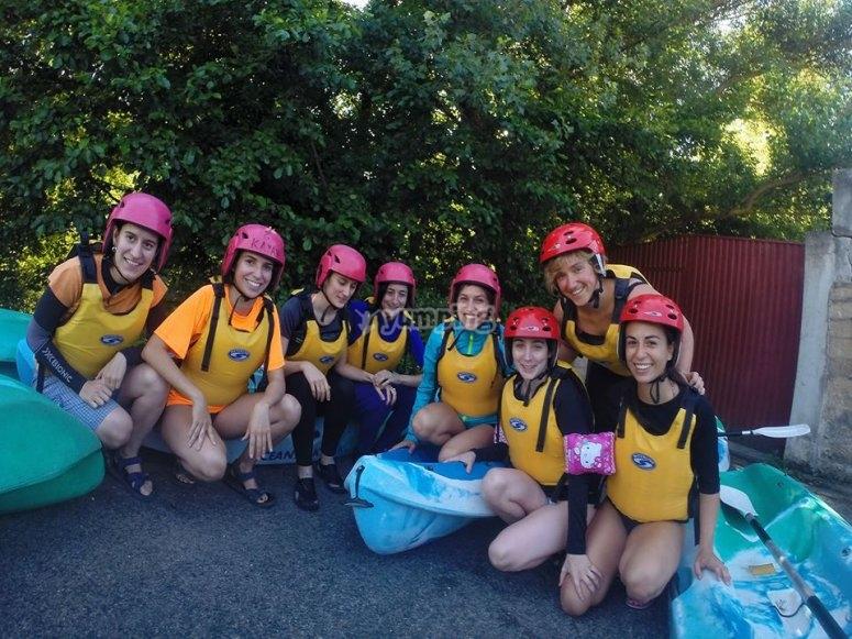 Preparandose para la ruta en Kayak