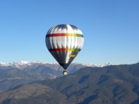 Balloon flight over the mountains