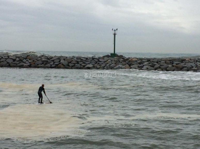 划桨冲浪划水无风