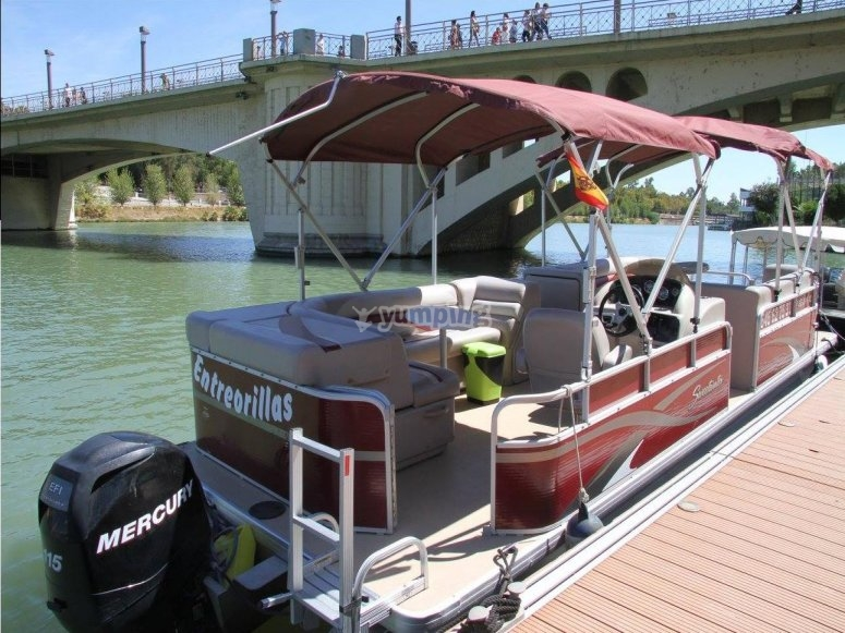 Barco en el muelle fluvial