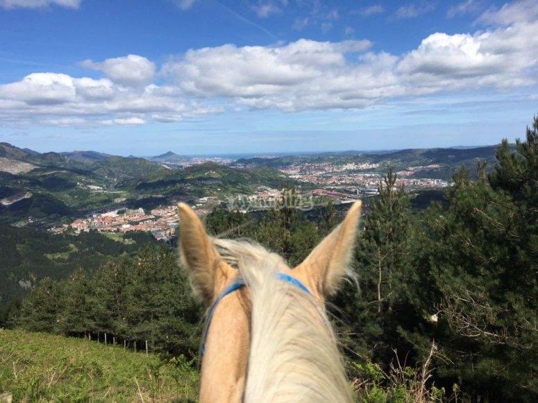 巴斯克浮雕的骑马景色