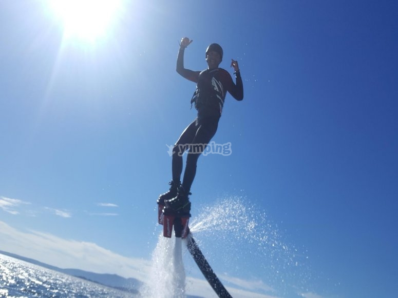 Trying flyboarding