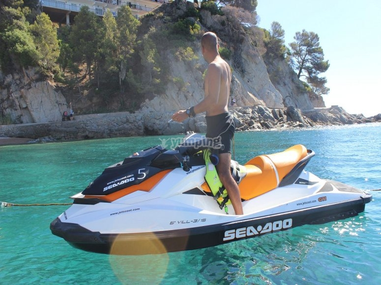 Jet ski on the crystal clear waters