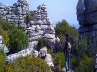 hiking between rocks