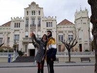 Junto al casino de Huesca