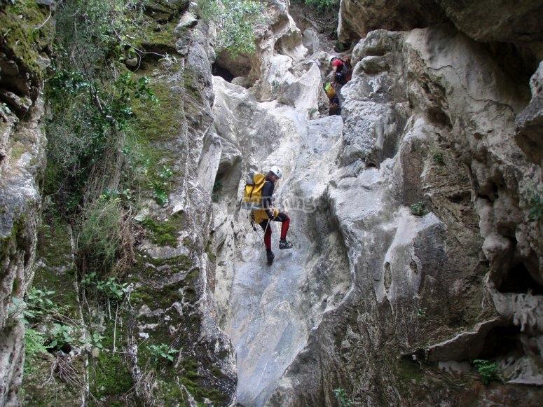 Descending the canyon