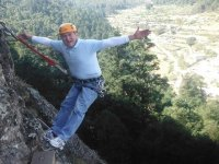 Rock rappelling with children