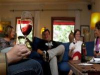 grupo de amigos sentados en el sofa tomando una copa de vino