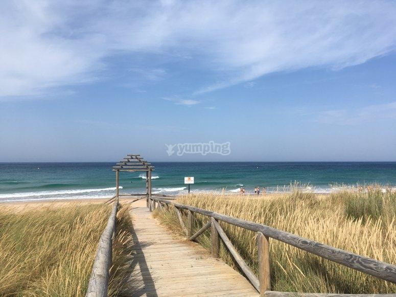 步行到海滩