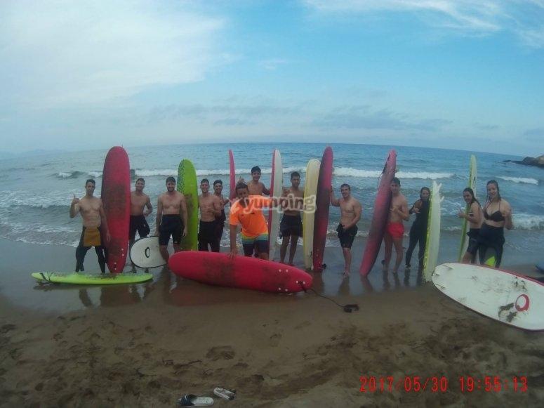 Listos para la sesión de surf