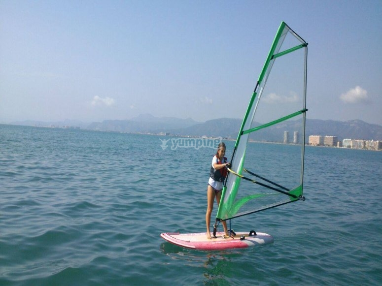 Sobre la tabla de windsurf