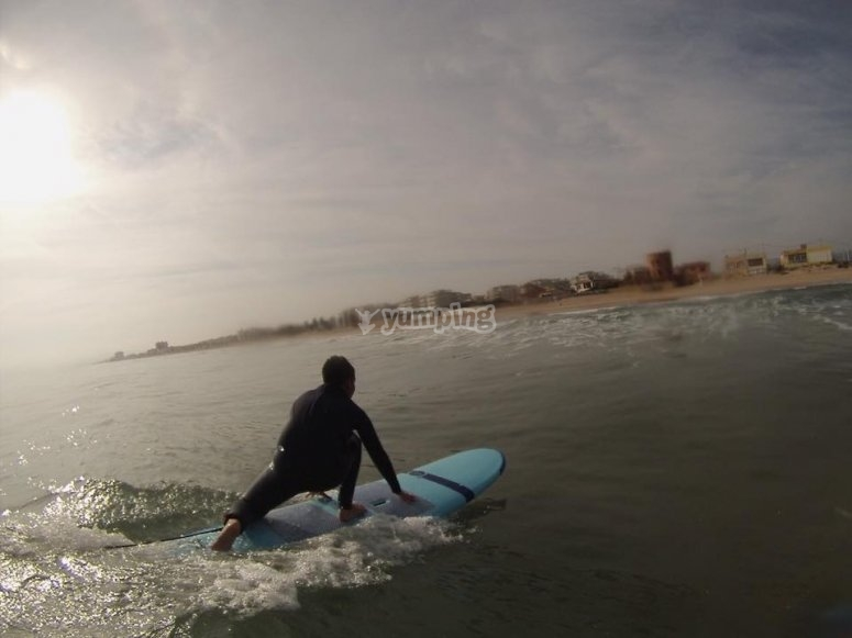 On the surfboard