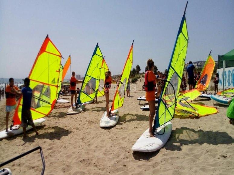 Classe di windsurf di gruppo