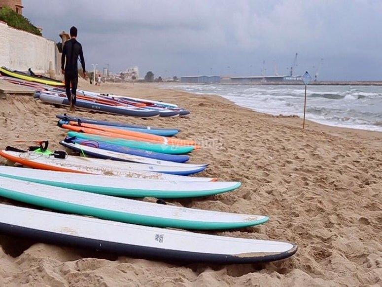 Tablas de surf en la arena