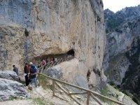 人们走在一个洞穴的小路上