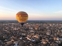 Balloon flying over the city