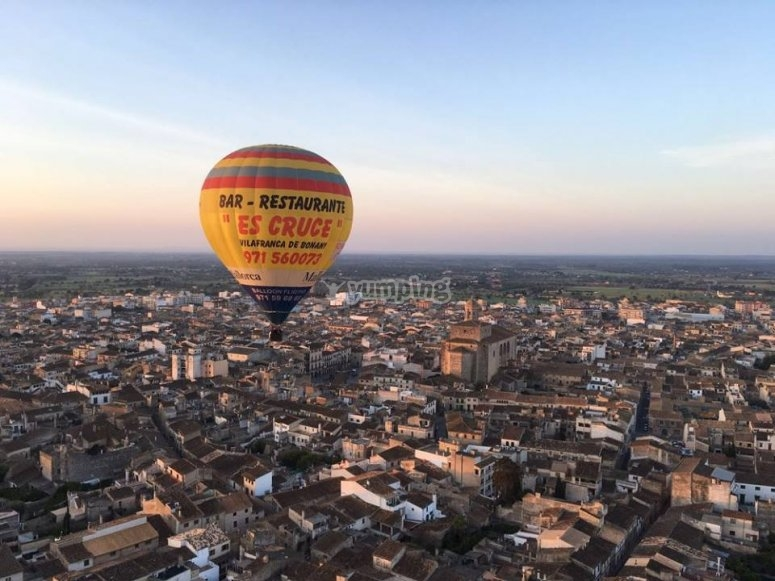 Hot-air balloon ride over the city