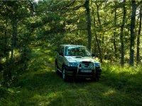 Cruzando el bosque en todoterreno