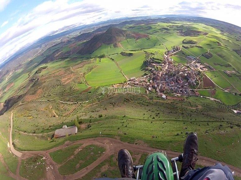 Flying over villages