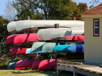 Stacked canoes