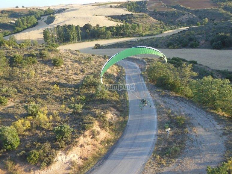 Paramotor aterrizando
