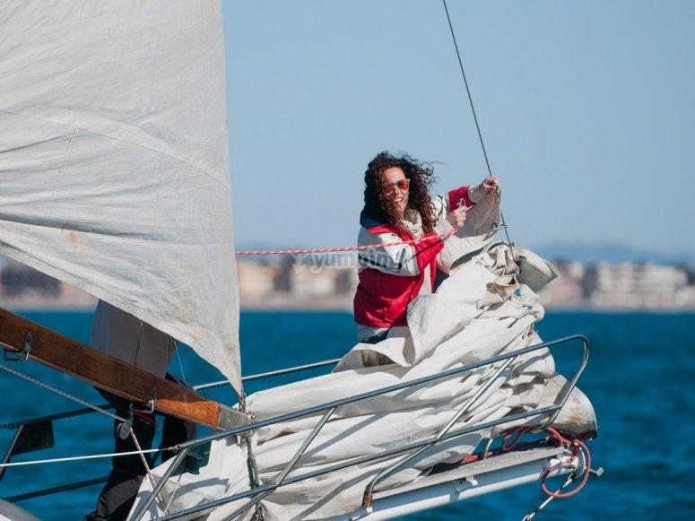 在学校导航帆船航海演习