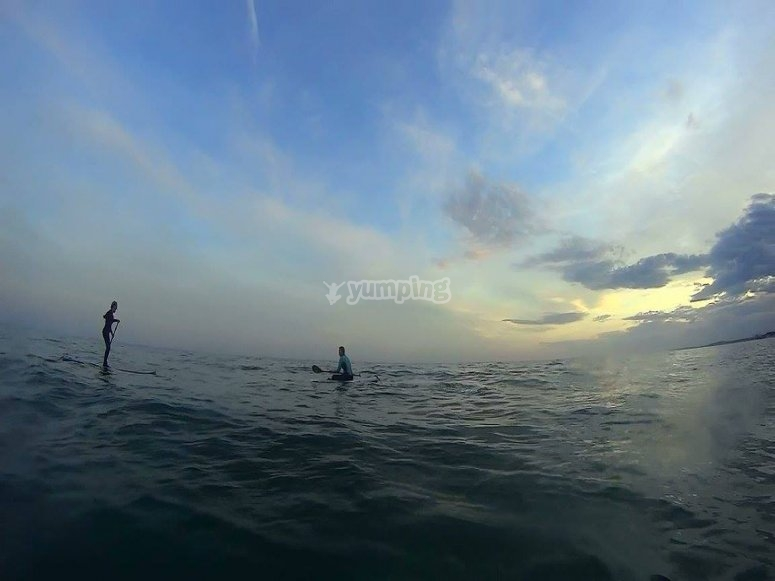 SUP in the sea