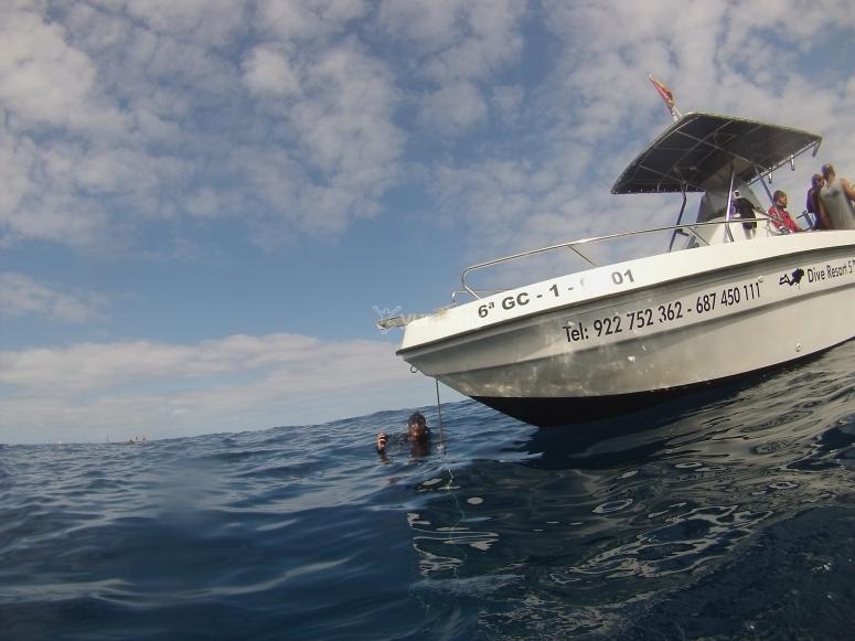 Inmersión de buceo desde barco