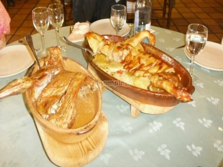 Typical roasted dishes