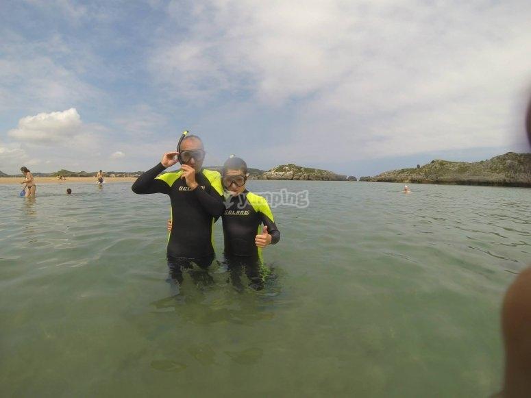 Material de snorkel en Noja