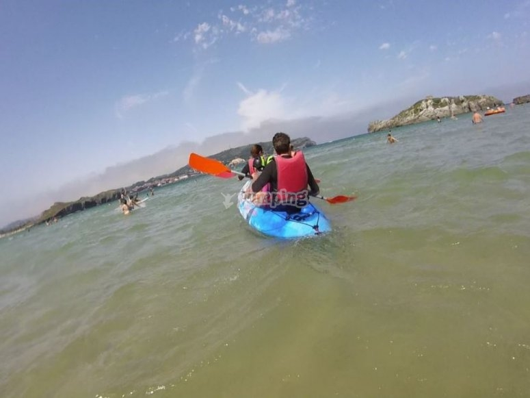 Canoa biplaza en Playa de Ris