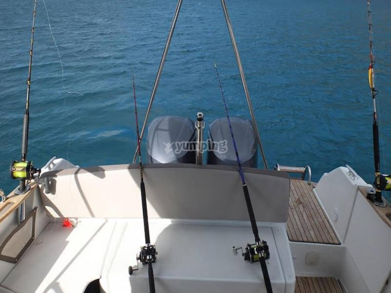 你可以在船上钓鱼