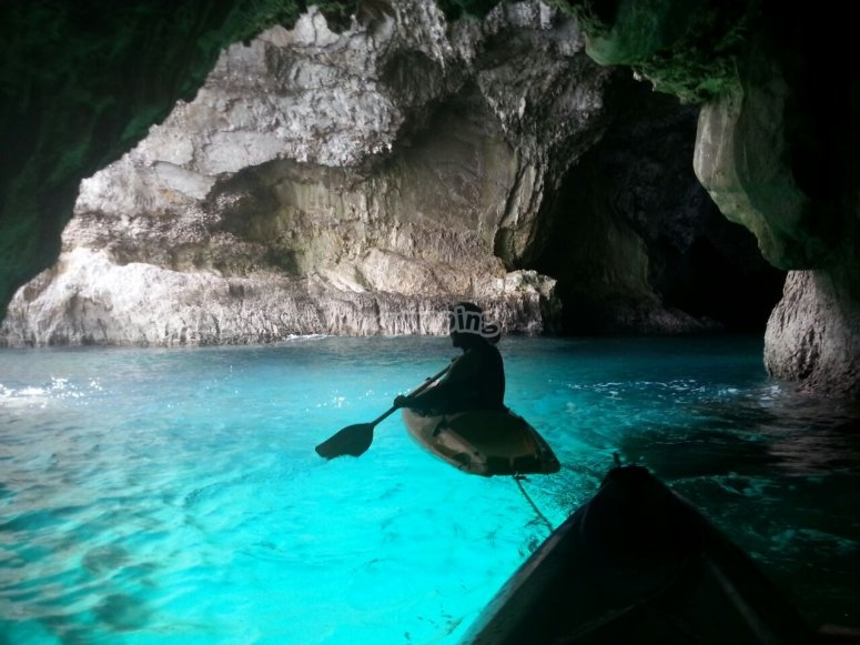 Canoeing in a cave