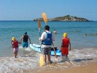 Kayak en la playa