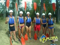 With the paddles of the canoes prepared