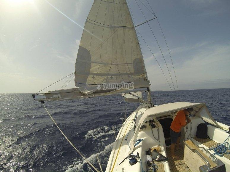 Navigando lungo la costa di Barcellona