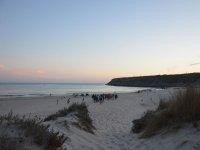 In avvicinamento alla spiaggia al tramonto