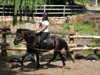 Joven montando en el caballo negro