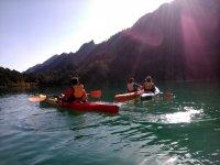 Enjoying La Llosa del Cavall from the kayaks