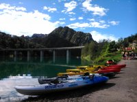 Kayaks ready for the route