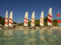 双体船双体帆船在赛场上进入水