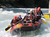 Rafting through rough waters and rapids