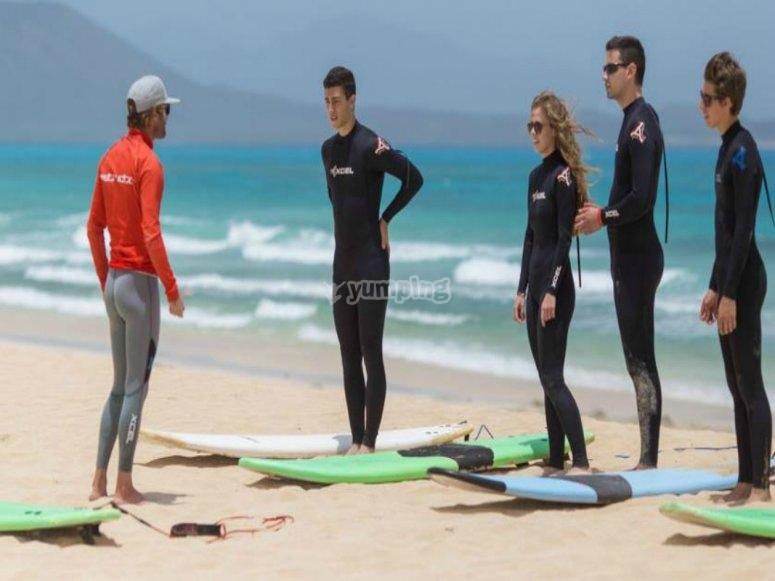 Preparazione della lezione di surf