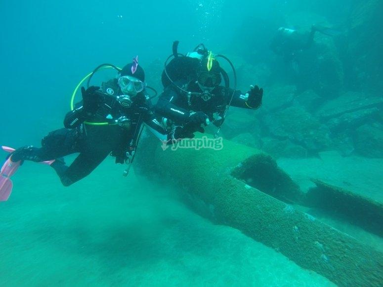 Sesion de buceo en Canarias