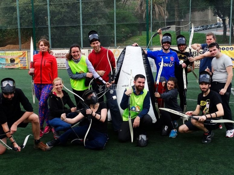 Players of an archery tag game