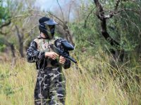 Paintball player in the Forest